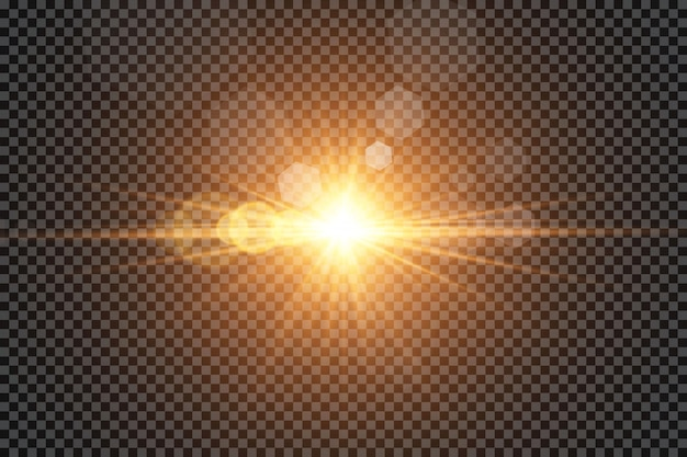 Glow lichteffekt. sonne. Premium Vektoren