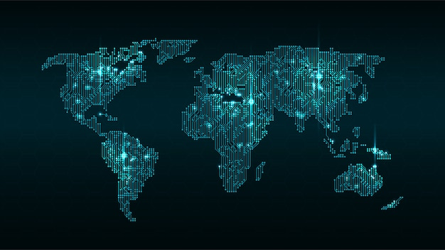 Glowing digital-weltkarte Premium Vektoren