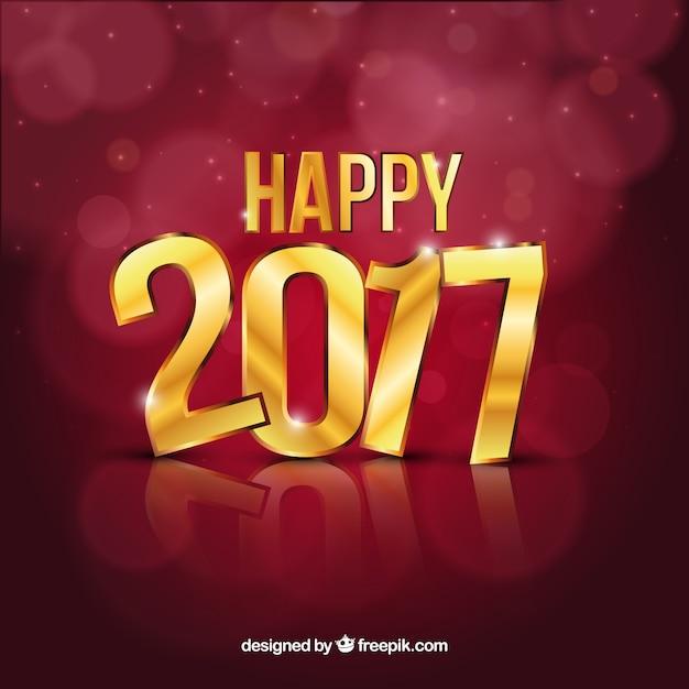 Glücklich 2017 Hintergrund mit goldenen Buchstaben Premium Vektoren
