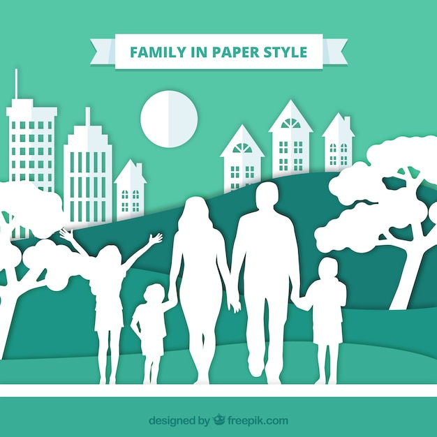 Glückliche Familie in der Papierkunstart Kostenlose Vektoren