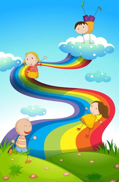 Glückliche Kinder auf Regenbogen Kostenlose Vektoren