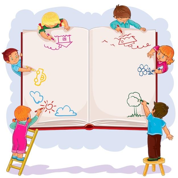 Glückliche Kinder ziehen sich auf ein großes Blatt Buch Kostenlose Vektoren