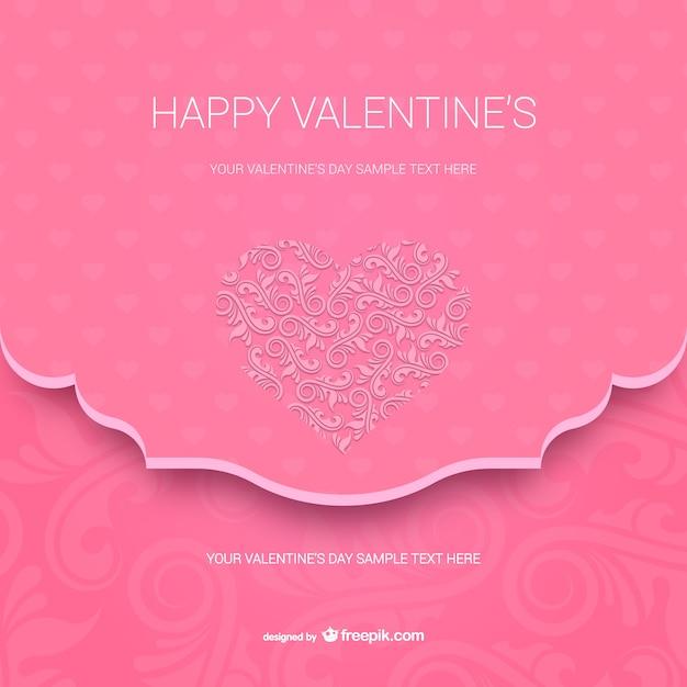 Glückliche Valentinstag Karte Vorlage Kostenlose Vektoren