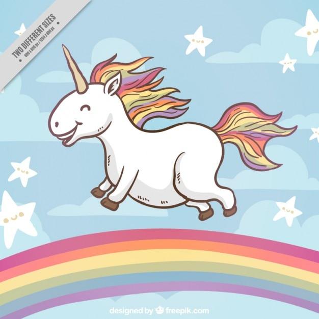 Glückliches Einhorn auf einem Regenbogen Hintergrund | Download der ...