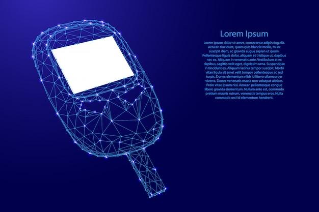 Glucometer-gerät zur messung des blutzuckers aus futuristischen polygonalen blauen linien und leuchtenden sternen Premium Vektoren