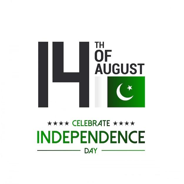 Glückliche 14. august pakistan-flagge. Premium Vektoren