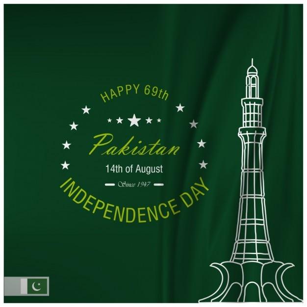 Glückliche 69th pakistan independence day Kostenlosen Vektoren