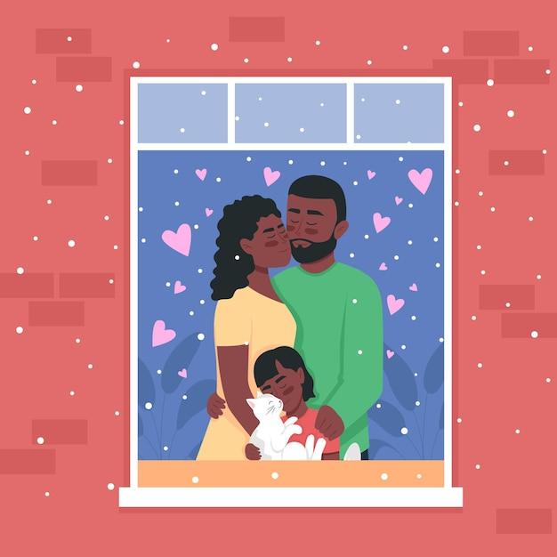 Glückliche afroamerikanerfamilie in der hauptfenster-farbillustration. Premium Vektoren
