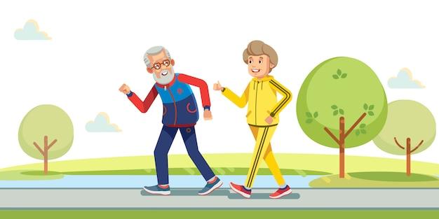 Glückliche aktive senioren, die draußen in grüne natur laufen. Premium Vektoren