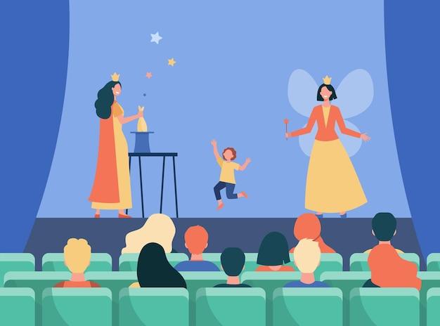 Glückliche animateure, die auf der bühne für kinder auftreten. flache illustration der magie, der fee, des kostüms. karikaturillustration Kostenlosen Vektoren