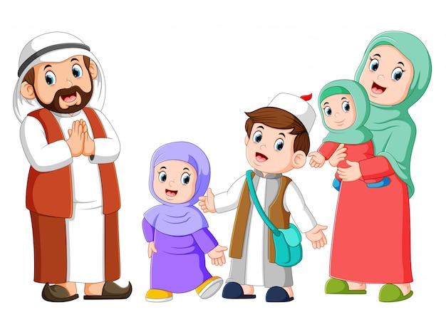 Glückliche arabische familienpaare mit kindern Premium Vektoren
