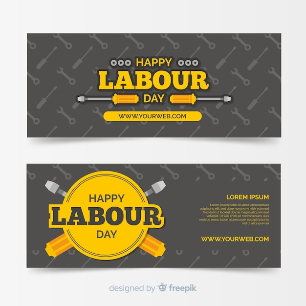 Glückliche arbeitstag flache banner für web und social media Kostenlosen Vektoren