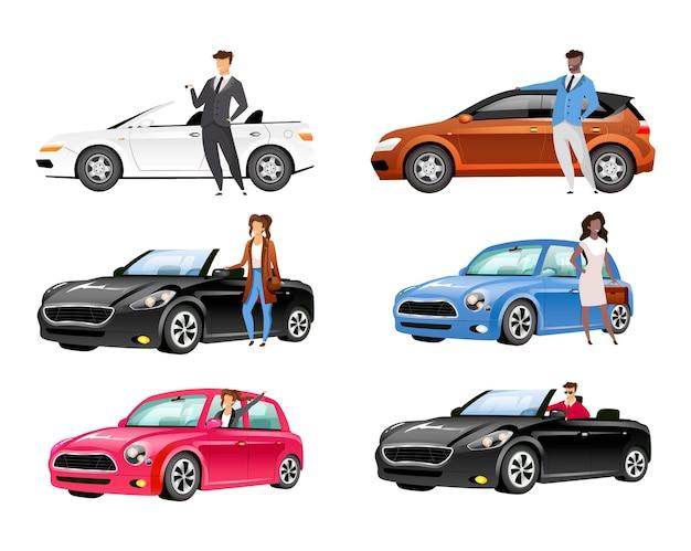 Glückliche autobesitzer flache farbe gesichtslose zeichen gesetzt. Premium Vektoren