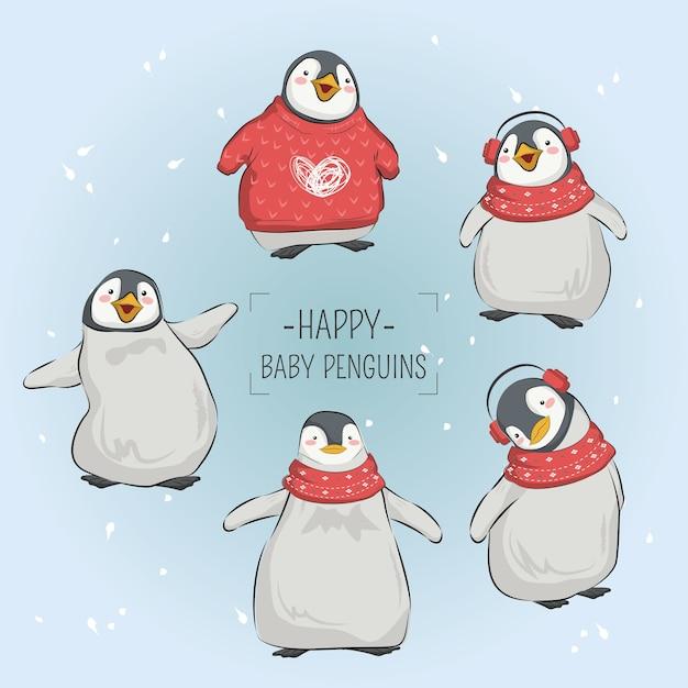 Glückliche baby-pinguine im weihnachten Premium Vektoren