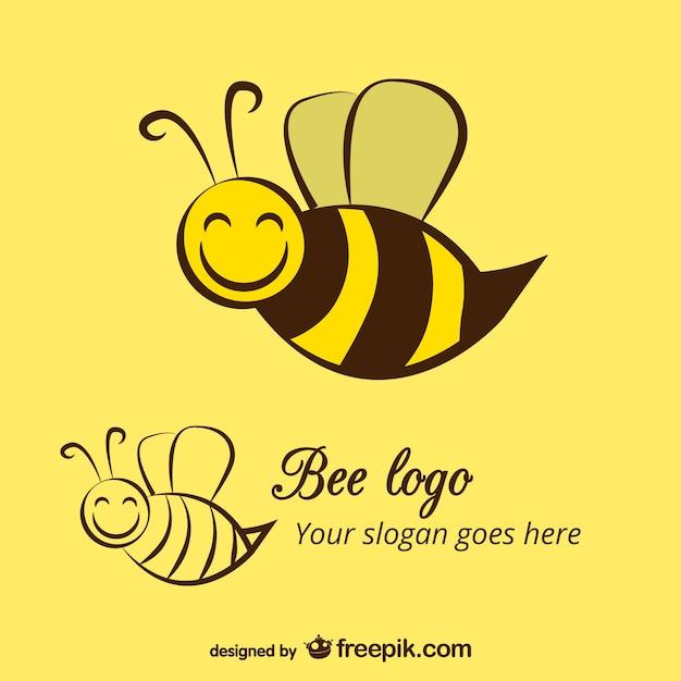 Glückliche biene logo-vorlage Premium Vektoren