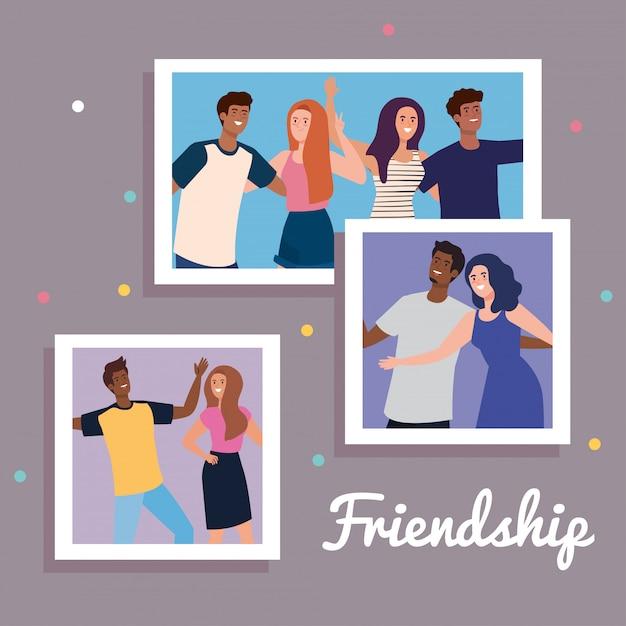 Glückliche charaktere, setfotos von jungen menschen glücklich, freundschaftsaufregung, fröhliches lachen vor glück Premium Vektoren