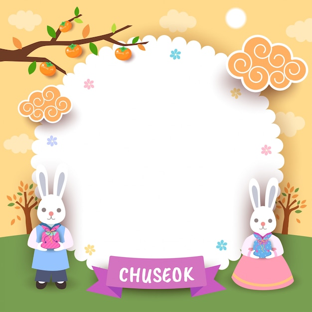 Glückliche chuseok-blumenrahmen-häschengrußkarte Premium Vektoren