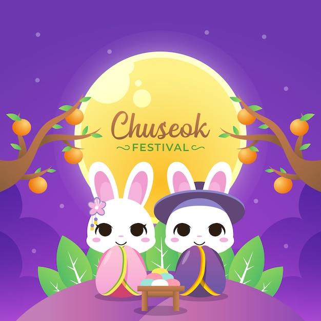 Glückliche chuseok illustration mit paarkaninchen-abnutzungs-hanbok Premium Vektoren
