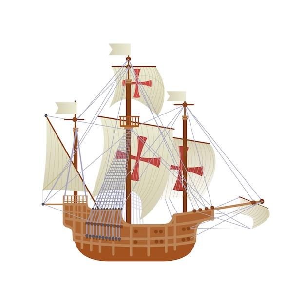 Glückliche columbus day national usa-feiertags-gruß-karte mit dem schiff lokalisiert auf weißem hintergrund Premium Vektoren