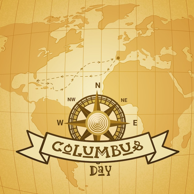 Glückliche columbus day national usa-feiertags-gruß-karte mit kompass über weltkarte Premium Vektoren