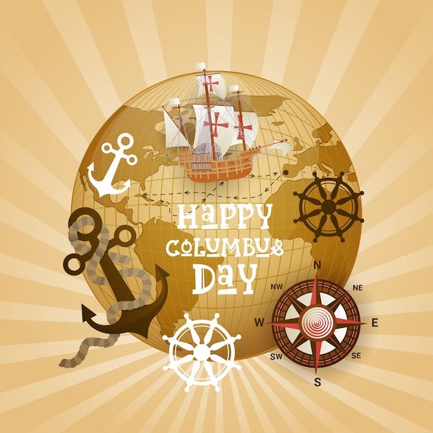 Glückliche columbus-tagesnational-usa-feiertags-gruß-karte mit schiff über weltkarte Premium Vektoren