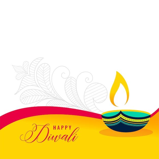 Glückliche diwali dekorative flache artkarte Kostenlosen Vektoren