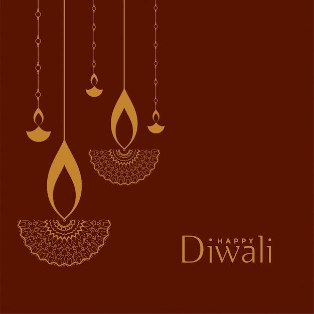 Glückliche diwali festivalillustration der flachen dekorativen art Kostenlosen Vektoren