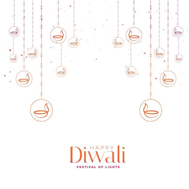 Glückliche diwali-festivalkarte mit dekorativen diyas Kostenlosen Vektoren