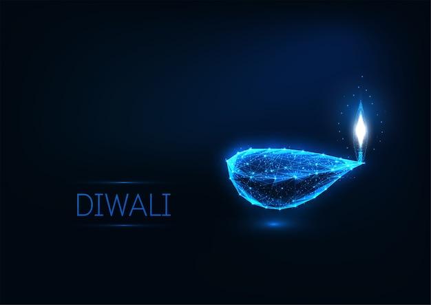 Glückliche diwali grußkartenschablone mit leuchtenden lichtern Premium Vektoren