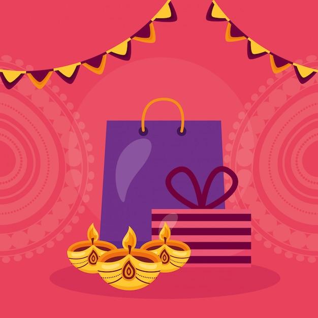 Glückliche diwali-karte mit einkaufstasche und kerzen Kostenlosen Vektoren