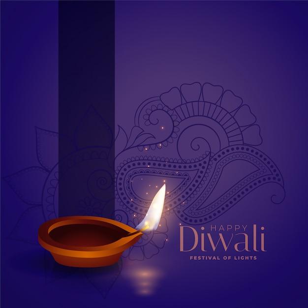 Glückliche diwali purpurrote abbildung mit realistischem diya Kostenlosen Vektoren