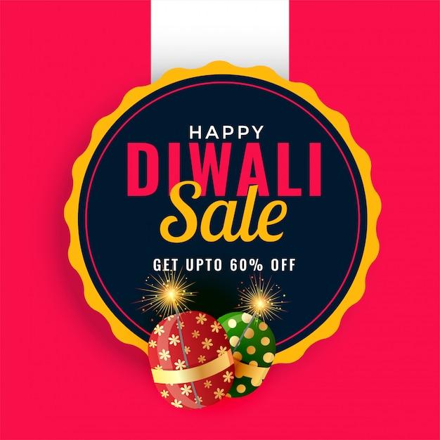 Glückliche diwali verkaufsförderungs-fahnenschablone mit crackern Kostenlosen Vektoren