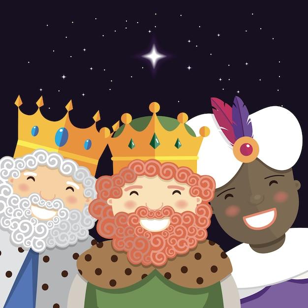 Glückliche drei könige, die in der nacht lächeln Premium Vektoren