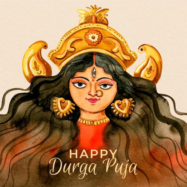 Glückliche durga-puja-hand gezeichnet Kostenlosen Vektoren
