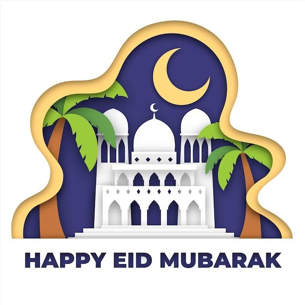 Glückliche eid mubarak papierart moschee und palmen Kostenlosen Vektoren