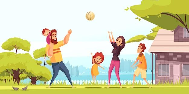 Glückliche eltern der aktiven familienferien mit kindern während des ballspiels im sommer im freien karikatur Kostenlosen Vektoren