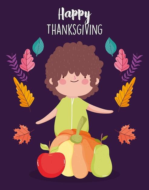 Glückliche erntedankfestkarte mit kleinem jungen mit kürbisapfel und birne Premium Vektoren