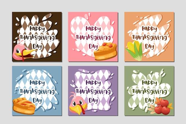 Glückliche erntedankfestkarte mit truthahn, kürbis und torte. Kostenlosen Vektoren