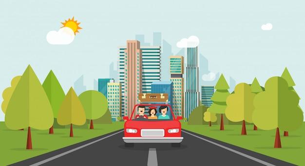 Glückliche familie der flachen karikatur mit dem kind, das zusammen über automobil reist Premium Vektoren