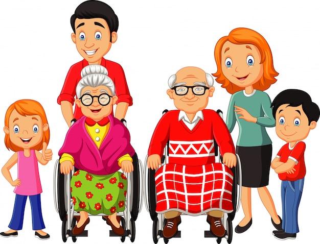 Glückliche familie der karikatur Premium Vektoren
