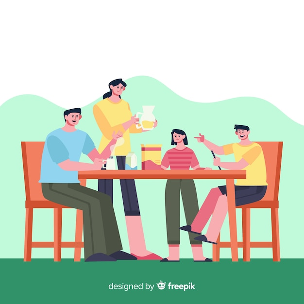 Glückliche familie, die am tisch, charakterdesign sitzt Kostenlosen Vektoren