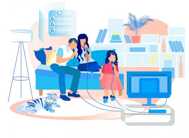 Glückliche familie, die auf sofa singing karaoke im fernsehen sitzt Premium Vektoren