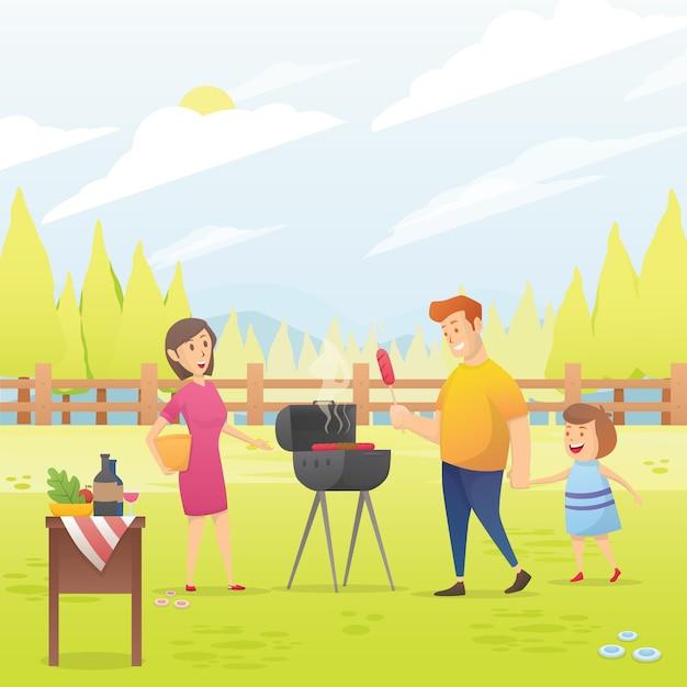 Glückliche familie, die grillparty-vektorillustration hat Premium Vektoren