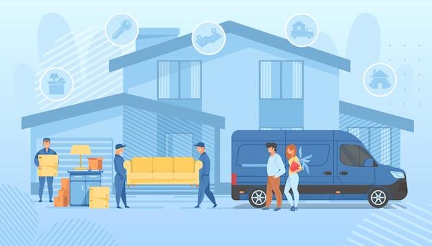 Glückliche familie, die in neues haus umzieht. lader-service Premium Vektoren