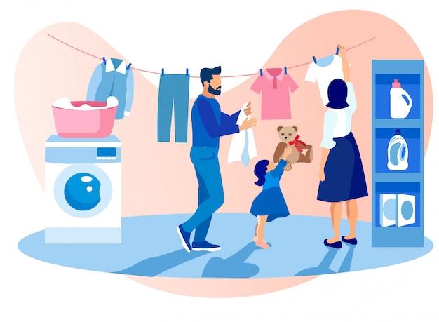 Glückliche familie, die kleidung, aufgaben wäscht und trocknet Premium Vektoren