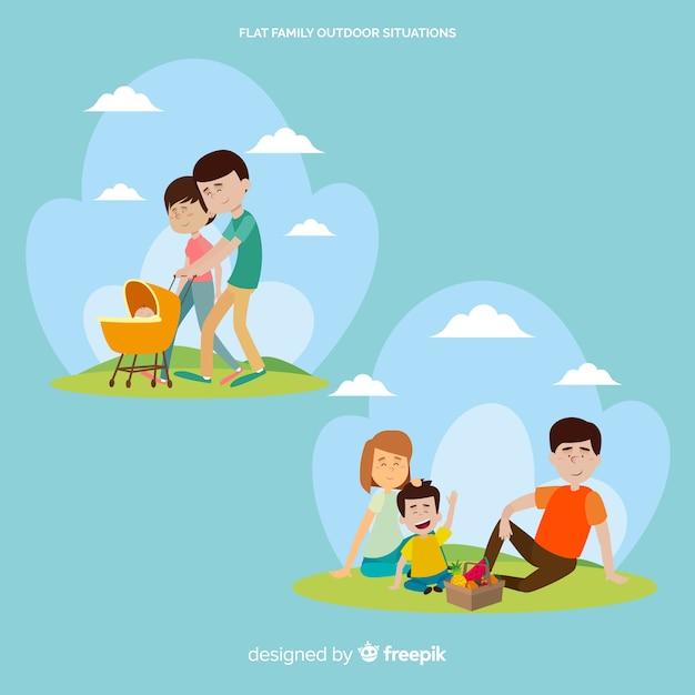 Glückliche familie, die tätigkeiten im freien tut. charakter-design Kostenlosen Vektoren