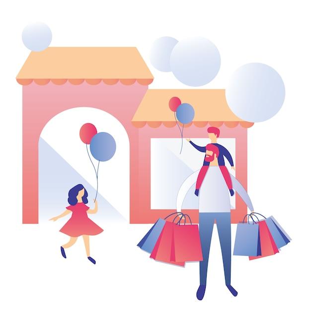Glückliche familie einkaufszentrum werbung Premium Vektoren