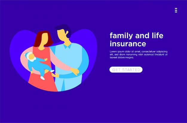 Glückliche familie flache abbildung Premium Vektoren