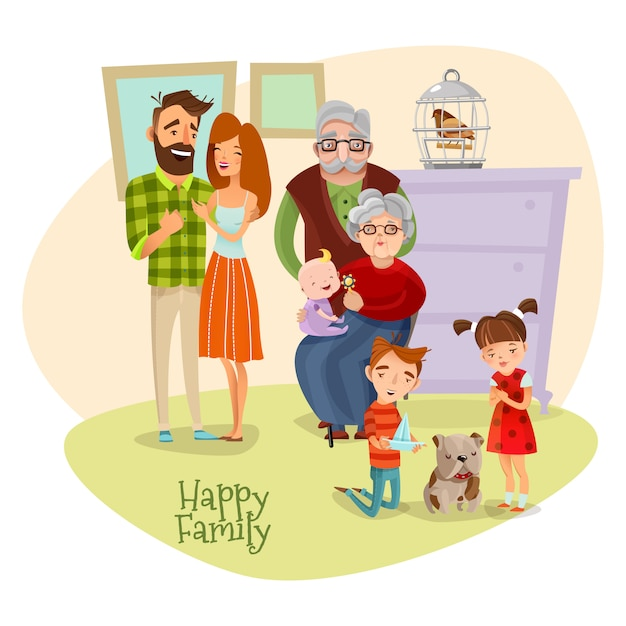 Glückliche familie flache vorlage Kostenlosen Vektoren