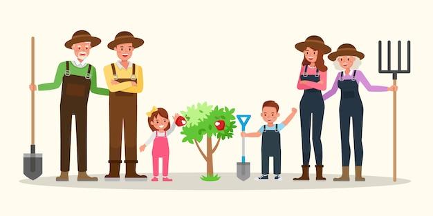 Glückliche familie gartenarbeit zusammen. Premium Vektoren